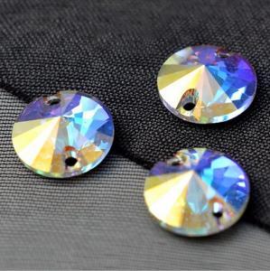 Cheap sew on rhinestones for formal dress Round Rivoli sew on crystal ab stone for sale