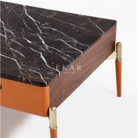 Cheap Wooden Stainless Rectangle Marble Coffee Table With 2 Drawers for sale