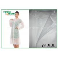 Cheap Economical SMS Nonwoven Disposable Lab Coats with Knitted Collar and Velcro for sale