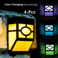 Cheap Multi-Color Solar Fence Lights Color Changing Solar Wall Lights for Garden Decor for sale