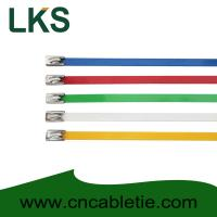 Cheap 4.6*300mm 201,304,316 grade epoxy polyester coated Ball-lock ss cable ties for sale