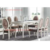 Cheap Ivory Neoclassical Dining Room Furniture collection by rubber wood with Glass or Marble table top for sale