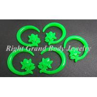 Cheap Flexible Green Resin Flower Spiral Ear Tapers Piercings Jewellery for sale