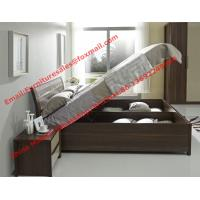 Cheap Lift mechanism storage bed in classic wooden bedroom furniture for sale