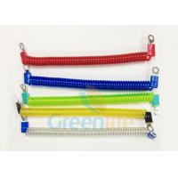 Cheap Coloured Steel Wire Retractable Coil Cord With Eyelet Terminals / Protectors for sale