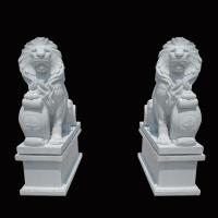 Cheap White Garden Cast Iron Decor Carved Stone Pair Animals Lion Polished Finishing for sale