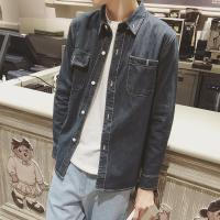 Spring autumn mens jean jackets with two pockets button closure blue
