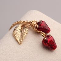 Environmental Zinc Alloy Women's Red Strawberry and Leaves Pendant Necklace