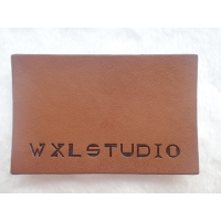 Cheap Personalized Logo Garment Leather Patch Embossed Black Logo Leather Label for sale