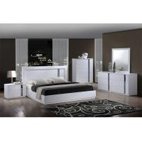 King Size High Gloss Bedroom Furniture Set Lacquer Painting With White / Blue Color