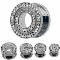Cheap 12mm, 14mm Stainless Steel CZ Clear Stone Screw Fit Ear Flesh Tunnels, Plugs Without Tags for sale