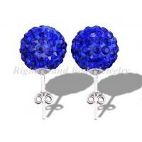 Cheap Sapphire Stainless Steel Piercing Earrings Studs , 6mm for sale
