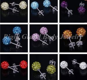 Cheap 10mm Blue Crystal Disco Ball Earrings Body Piercings Jewelry For Women for sale