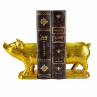 Cheap Polyresin Piggy Home Decor Bookends With Gold Gilded Urban Customized Size for sale