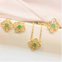 Cheap Gold And Gemstone Jewelry Sets , Emerald Diamond Ring / Earrings / Necklace for sale