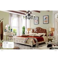 Cheap Brown Leather Pull buckle furniture latest wood double bed designs for sale