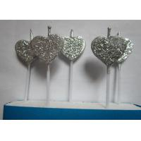 Silver Glitter Birthday Candles Heart - Shaped For Valentine'S Day Decoration Manufactures