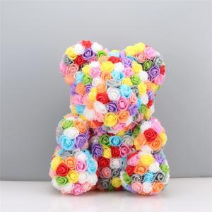 Cheap Factory Export Direct 40cm Multicolor Rose Bear Custom Rainbow Rose Bear for sale