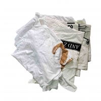 Cheap Recycled 85% Cotton 25Kg Packaging White T Shirt Rags for sale