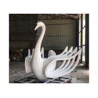 Cheap Large Size Beautiful Lifelike Stainless Steel Sculpture White Swan Sculpture for sale