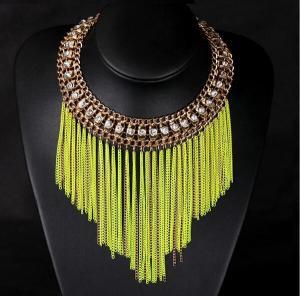 Cheap TPN-8 fluorescent short metal chain necklace tassel necklace wholesale for sale