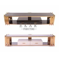 Buy cheap Accessories Glass Top Stainless Steel TV Stand with Drawers from wholesalers