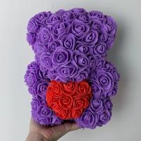 Cheap 2020-2021 Valentines Day Small Rose Bear 25cm Rose Bear With Heart for sale