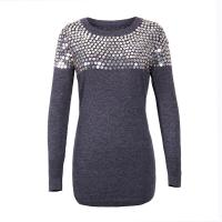 100% Cotton Women's Pullover Sweater Crew Neck Beads Design For Christmas