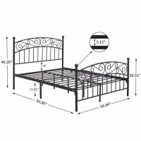 Cheap Twin Black Cast Iron King Size Bed Frame Customized Size ISO9001 for sale