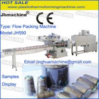 Cheap automatic threads spools poly wrapping machine /Flow Packing Machine Within Shrink tunnel for sale