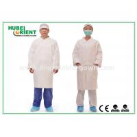 Cheap Tyvek disposable white lab coats , medical protective clothing Korean Collar and Zip for sale