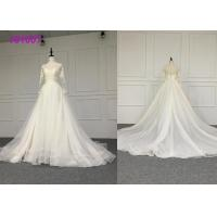 Cheap Crystal A Line Ball Gown Wedding Dress / Tulle Long Sleeve Ball Gown Wedding Dress for sale
