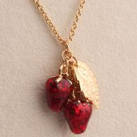 Buy cheap Environmental Zinc Alloy Women's Red Strawberry and Leaves Pendant Necklace from wholesalers
