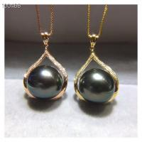 Cheap 18k Gold Jewelry South Pearl Pendant Necklace Pave Diamonds for sale