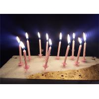 Candy Stripes Spiral Birthday Candles Pink Paraffin Wax With 20 pcs Holders Manufactures