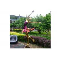 Cheap Titanium Plated Life Size Stainless Steel Sculpture Fabrication Of Dancing Girl Statue for sale