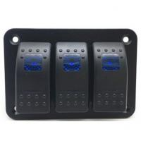 Cheap Car-styling 5 Pin on-off 3 Gang Waterproof Car Auto Boat Marine LED Rocker Switch Panel for sale