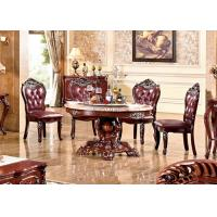 Cheap wood round carved marble top dining room table for sale