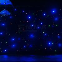 Cheap blue Starcloth, Star cloth, DJ Booth Deck Stand Curtain, Backdrop, Multi LED, DJ for sale
