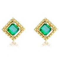 Cheap Square Genuine Emerald Stud Earrings 18k Yellow Gold for Ladies Gifts for sale