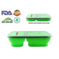 Cheap 900 ML Protable Green Tow Compartment Collapsible Silicone Food Containers for sale