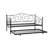 Cheap Heavy Duty Black Iron Trundle Bed , Twin Daybed Frame Smooth Finish Edges for sale