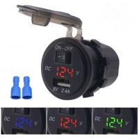 Cheap 12v Waterproof Digital Voltage Display 5v/2.4a Car Panel Mount Usb Charger With Switch for sale