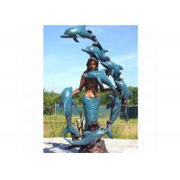 Cheap Life Size Western Bronze Statue Dolphin And Mermaid Sculpture For Casting Finish for sale