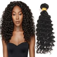 Cheap Natural Black Virgin Human Hair Bundles Without Lice / Machine Double Weft for sale