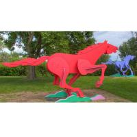 Cheap Modern Life Size Painted Metal Sculpture Running Horse Sculpture For Outdoor for sale