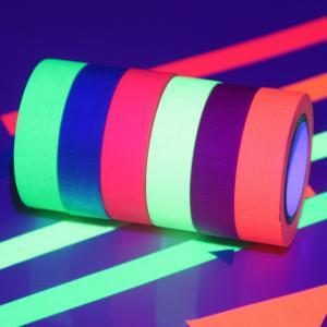Cheap UV React Black light Neon Luminous Adhesive Tape 6 Colors A Set Shrink Wrapped for sale