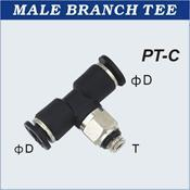 Compact One Touch Tube Fittings Male Branch Tee