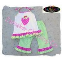 Girl ladybug knit top outfit pant set baby girl clothes girl pink