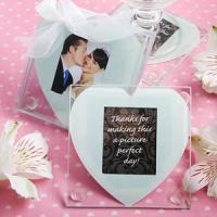 Cheap Anniversary Gifts Heart Photo Coaster Favors - Set of 2 for sale